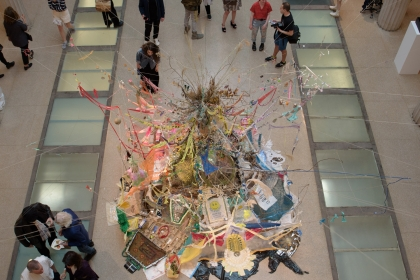 Visitors gather around an installation at NEXT's opening reception. (Sydney Elle Gray/GW Today)