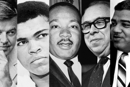 Frank Church, Muhammad Ali, Martin Luther King Jr., Art Buchwald, Whitney Young photos lined up next to each other