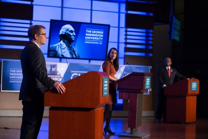 (From left) Jay Carney, Hadas Gold and Allen West at Sunday's #OnlyAtGW debate. (William Atkins/GW Today)