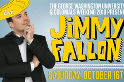 Jimmy Fallon with tricorner hat on: The George Washington University and Colonials Weekend 2010 Present Jimmy Fallon, October 16