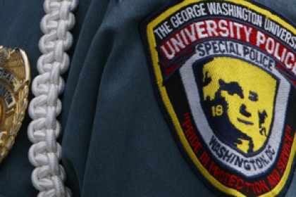Close up of University Police Department patch on arm of officer's shoulder