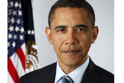 President Obama portrait in front of American flag