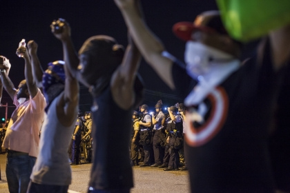 Ferguson demonstrators locking hands