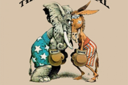 the political pulse with graphical representation of donkey and elephant squaring off with boxing gloves wearing stripes & stars