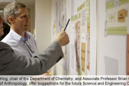 Michael King and Brian Richmond look at plans for science and engineering and provide feedback