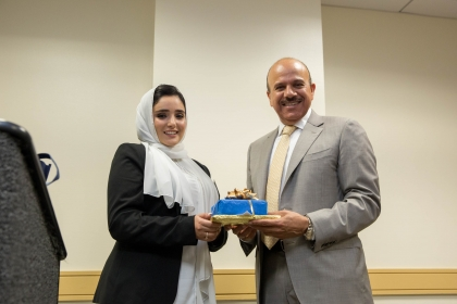 GW Saudi Students Association President Rozana Saklou with Dr. Al-Zayani.