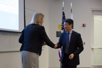 Dean Linda Livingstone welcomes Korean Ambassador to the United Nations Oh Joon.