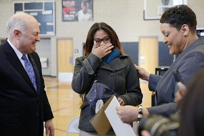 Lashae Hunter received the surprise of a lifetime when the George Washington University prize patrol showed up at 8 a.m. to hand