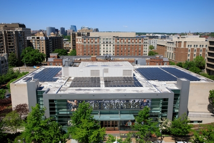 Solar panels on GW buildings in Foggy Bottom. (William Atkins/GW Today)