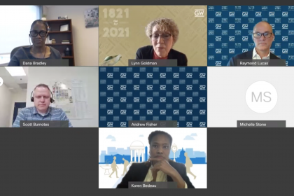 Screenshot of panelists discussing GW's vaccine and testing policy at a virtual forum last Thursday.