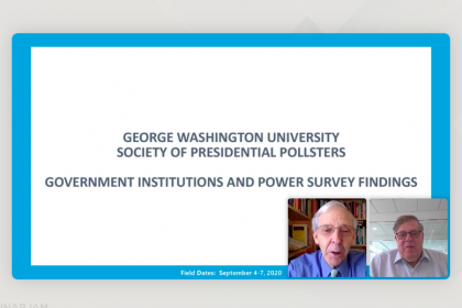 Founding GSPM Dean Christopher Arterton and pollster Mark Penn presented the poll remotely.