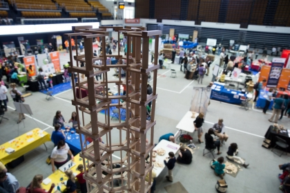 Educational tools like these architectural KEVA blocks dominated he floor of the Charles E. Smith Center during Share Fair 2015.