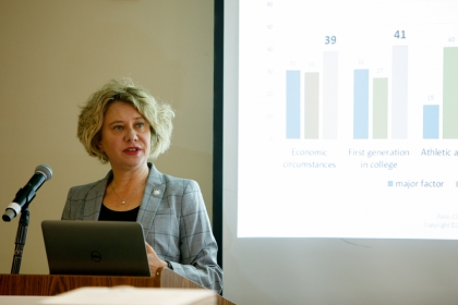 Sigal Alon presented her research at a talk held by the Graduate School of Education and Human Development. (William Atkins/GW T