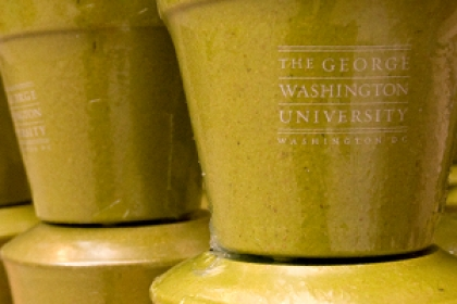 The George Washington University flower pots stacked on top of each other in columns