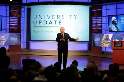 GW President Thomas LeBlanc presented a framework for the strategic planning process. (William Atkins/GW Today)