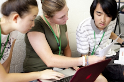 three high school students studying together