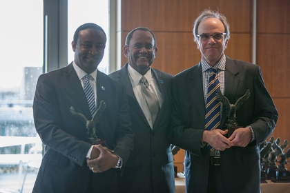 (From left) Columbian College School of Arts and Sciences Dean Ben Vinson, Associate Provost for Veterans and Military Affairs M