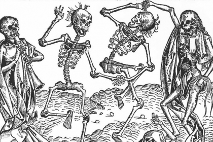 """The """"Dance of Death"""" woodcut from 1493, attributed to Michael Wolgemut, suggests that"""