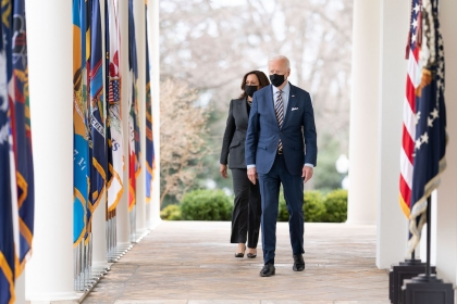 President and Vice President on White House portico