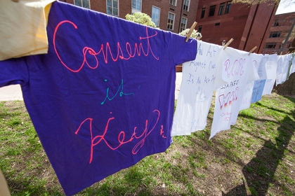 T-shirts decorated by members of the GW community hung in University Yard