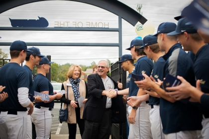 President LeBlanc and his wife, Anne, enter the new Fassnacht Clubhouse and training facility. (Photos: Abby Greenawalt)