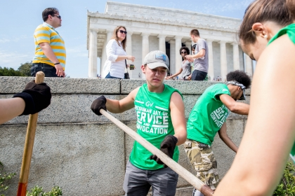 Day of service at Lincoln Memorial