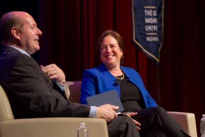 GW Law Professor Brad Clark and Supreme Court Justice Elena Kagan. (Logan Werlinger/GW Today)