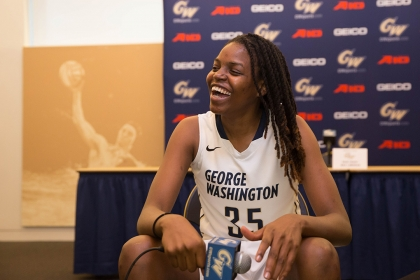 Senior Jonquel Jones is a member of the women's basketball team.