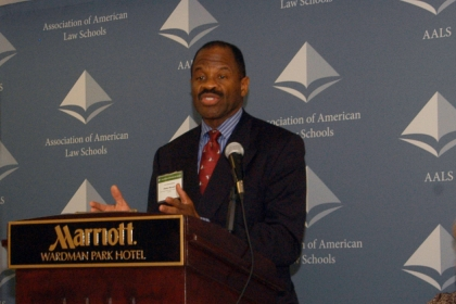 Blake Morant spoke at a press conference held by AALS on Monday.