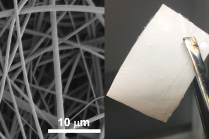 A microscopic (left) and true-to-size view of the nanofibers. (Courtesy Danmeng Shuai)