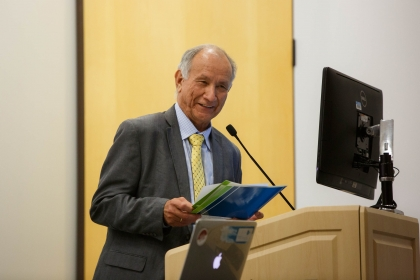 Dr. Joel Gomez at a seminar on bilingual education. (Logan Werlinger/GW Today)
