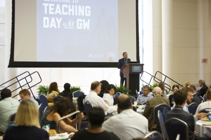 Provost Forrest Maltzman addressed faculty at GW's seventh annual Teaching Day. (Logan Werlinger/GW Today)