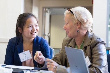 Participants in Teaching Day discuss learning techniques. (Photo: Logan Werlinger)