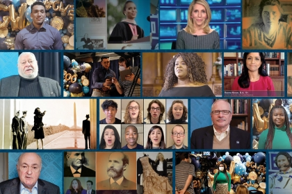 Montage of images from the virtual bicentennial ceremony