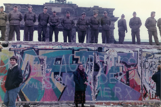 GW Professor Hope Harrison, then a graduate student, visited the Berlin Wall at the time of its historic fall.
